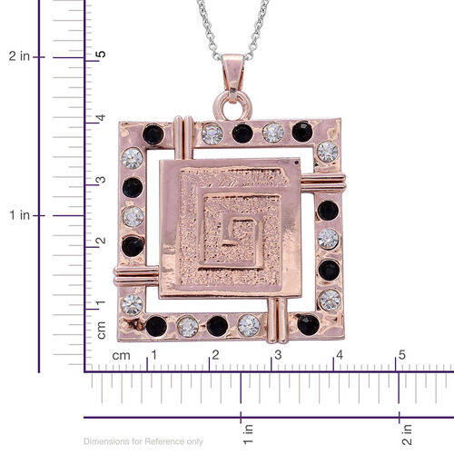 Black and White Austrian Crystal Pendant and Hook Earrings in Rose Gold Tone With Stainless Steel Chain