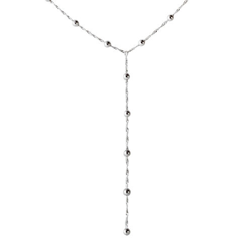 Limited Available Vicenza Collection Sterling Silver Lariat Necklace (Size 18), Silver wt. 6.00 Gms.