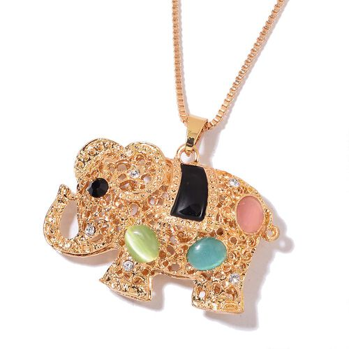 Simulated Multi Colour Cats Eye, Black and White Austrian Crystal Elephant Pendant With Chain (Size 28) in Yellow Gold Tone