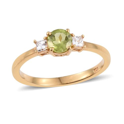 Hebei Peridot (Rnd), Simulated Diamond Solitaire Ring and Stud Earrings (with Push Back) in 14K Gold Overlay Sterling Silver 2.500 Ct.