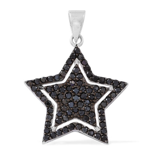 Boi Ploi Black Spinel (Rnd) Star Pendant in Rhodium Plated Sterling Silver 3.150 Ct. Silver wt 4.00 Gms.