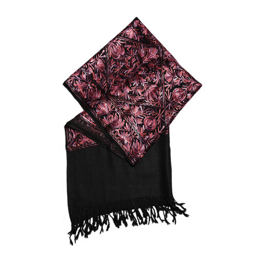 100% Merino Wool Olive Green, Pink and Multi Colour Flower and Leaves Embroidered Scarf (Size 190x70 Cm)
