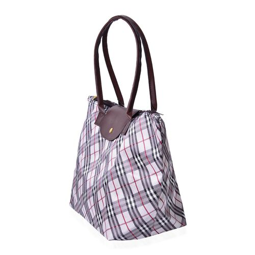 Designer Inspired-Set of 2 -  Checks Pattern Water Resistance Large Handbag (Size 45x28x27.5x17 Cm) and Small Handbag (Size 32x21x20x12.5 Cm)