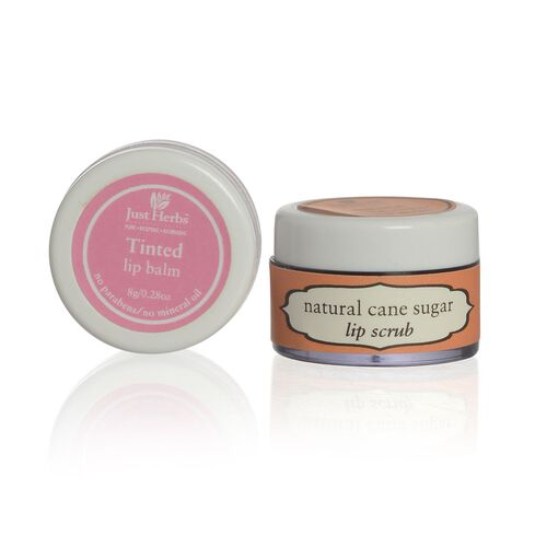 Set of 2 - Just Herbs Tinted Lip Balm (8g) and Cane Sugar Lip Scrub (15g)