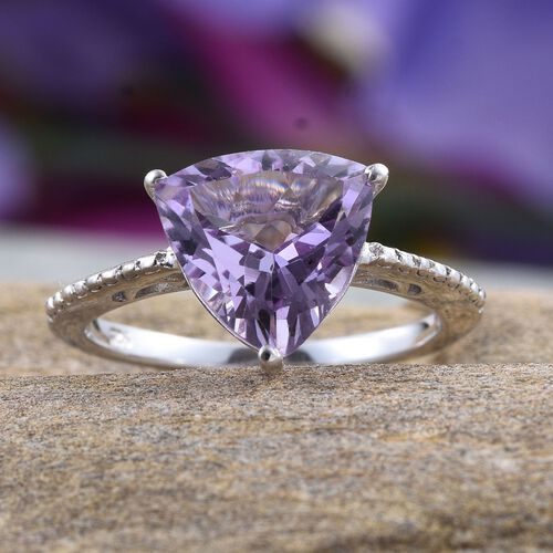 AA Rose De France Amethyst (Trl) Solitaire Ring in Platinum Overlay Sterling Silver 2.750 Ct.