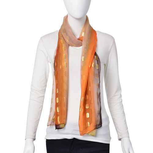 100% Mulberry Silk Golden Dot Pattern Orange, Yellow and Multi Colour Scarf (Size 180X55 Cm)