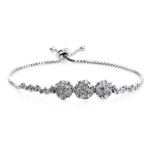 New Concept - Designer Inspired - Firecracker Diamond (Bgt) Bolo Bracelet (Size 6.5 to 8.5) in Platinum Overlay Sterling Silver 0.760 Ct.