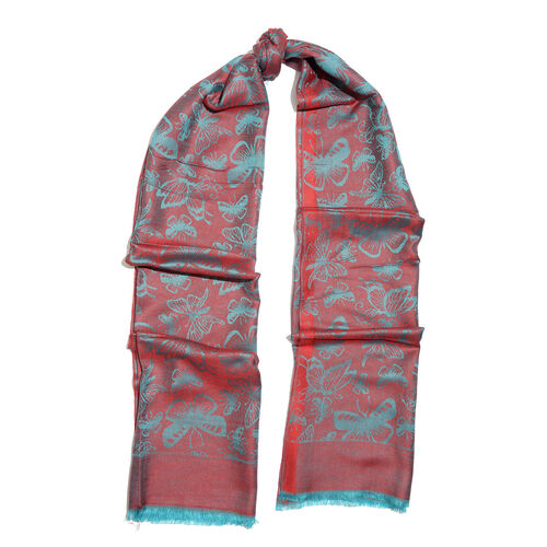 Red and Blue Colour Butterfly Pattern Jacquard Scarf with Fringes (Size 190X70 Cm)