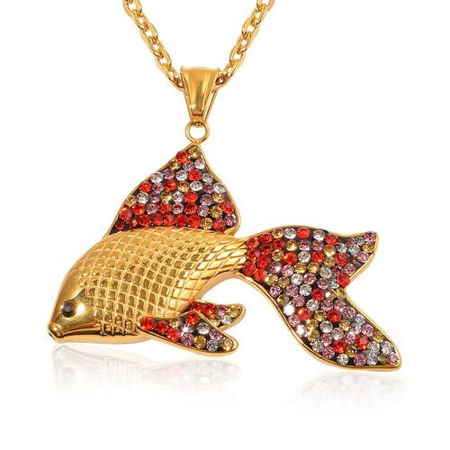Multi Colour Austrian Crystal Fish Pendant With Chain in ION Plated Yellow Gold Stainless Steel