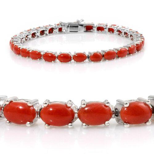 Natural Mediterranean Coral (Ovl) Tennis Bracelet (Size 7) in Platinum Overlay Sterling Silver 11.000 Ct.