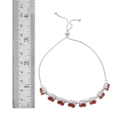 Galileia Blush Pink Quartz (Ovl) Adjustable Bracelet (Size 6.5 to 9.5) in Platinum Overlay Sterling Silver 7.250 Ct.
