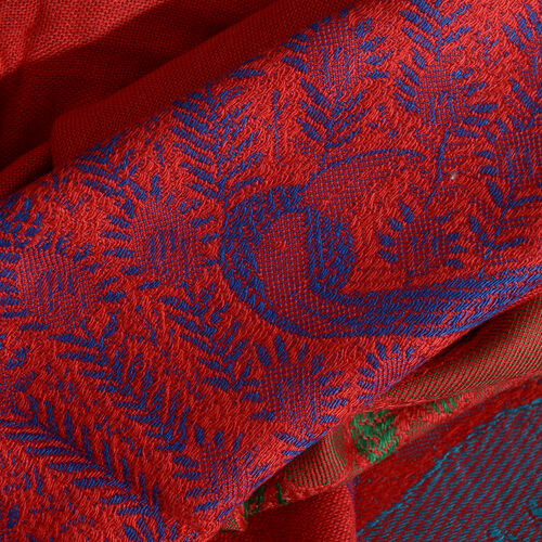 Red, Blue and Multi Colour Peacock Pattern Scarf with Tassels (Size 200X70 Cm)