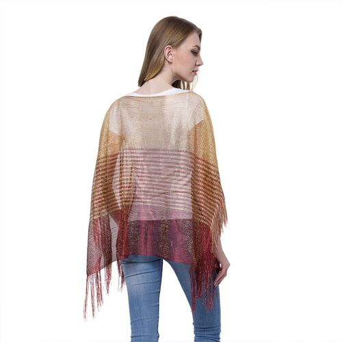 Dark Red and Golden Colour Stripe Pattern Poncho (Size 90x55 Cm) and Black Colour Vest (Size 60x55 Cm)
