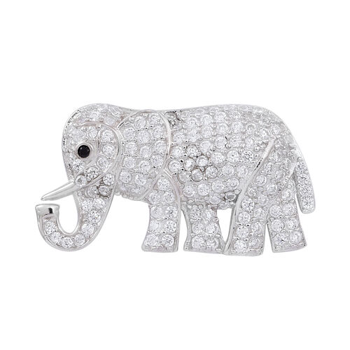 ELANZA AAA Simulated White Diamond (Rnd) Elephant Pendant in Rhodium Plated Sterling Silver