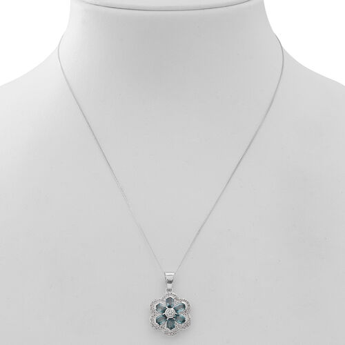 Ratanakiri Blue Zircon (Ovl), Natural White Cambodian Zircon Floral Pendant with Chain (Size 18) in Rhodium Plated Sterling Silver 4.750 Ct.