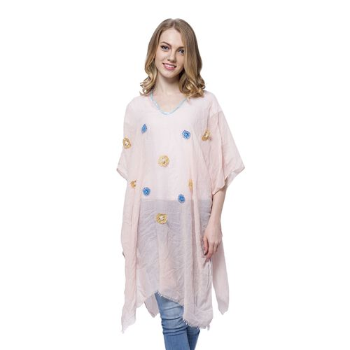 Blue and Yellow Colour Small 3D Floral Pattern Pink Colour Poncho (Size 90x90 Cm)