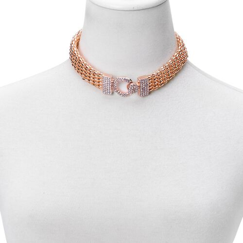 Designer Inspired White Austrian Crystal Necklace (Size 16) in Rose Gold Tone