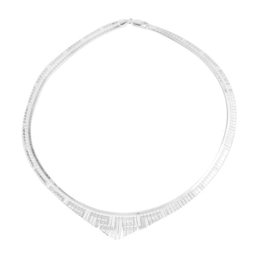 JCK Vegas Collection Rhodium Plated Sterling Silver Cleopatra Necklace (Size 18), Silver wt 24.51 Gms.
