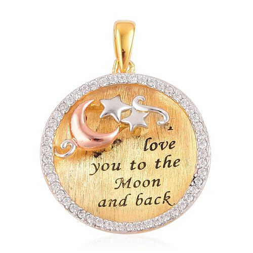 ELANZA AAA Simulated White Diamond Love Inscription Pendant with Moon and Stars in Rhodium, Yellow Gold and Rose Gold Overlay Sterling Silver