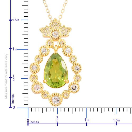 AAA Hebei Peridot (Pear 3.25 Ct), White Topaz Pendant With Chain in Yellow Gold Overlay Sterling Silver 3.850 Ct.