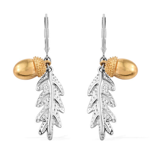 Platinum and Yellow Gold Overlay Sterling Silver Acorn Nut with Oak Leaf Lever Back Earrings, Silver wt. 6.85 Gms.