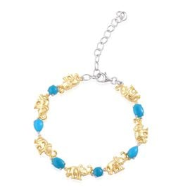 Designer Inspired- Arizona Sleeping Beauty Turquoise (Pear) Elephant Link Bracelet (Size 6 with a 3 inch extender) in Yellow Gold Overlay Sterling Silver 3.000 Ct.