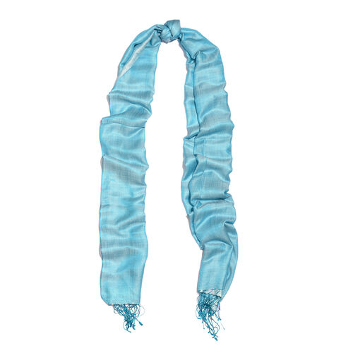 Close Out Deal-  55% Silk Turquoise Colour Scarf with Fringes (Size 200x70 Cm)