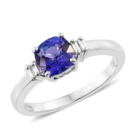 ILIANA 18K White Gold AAA Tanzanite (Cush 1.40 Ct), Diamond (SI/G-H) Ring 1.500 Ct.