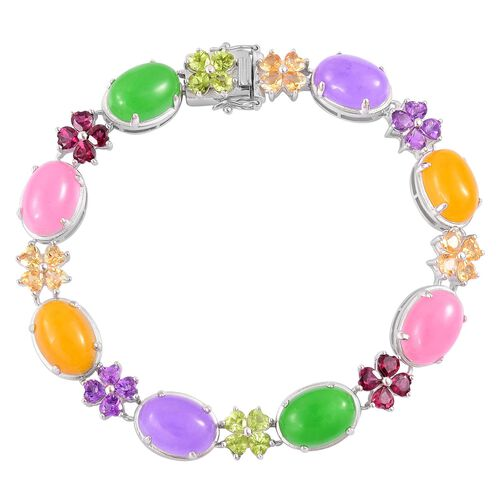 Limited Edition - Yellow, Green, Pink and Purple Jade (Ovl), Amethyst, Hebei Peridot and Multi GemStone Bracelet (Size 6.5) in Rhodium Plated Sterling Silver 51.000 Ct.