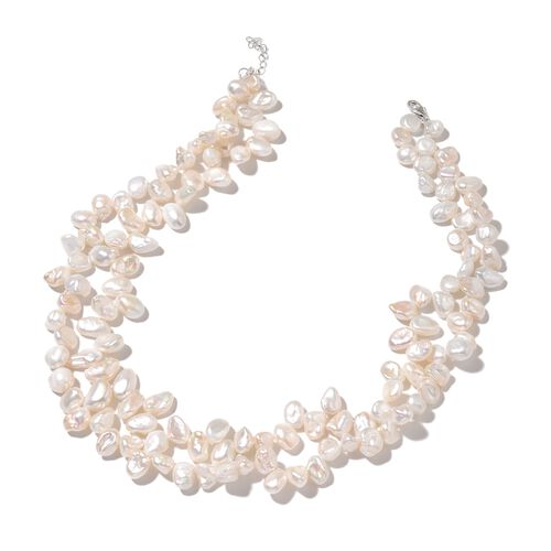 White Keshi Pearl Necklace (Size 18 with 1.5 inch Extender) in Rhodium Plated Sterling Silver 300.000 Ct.