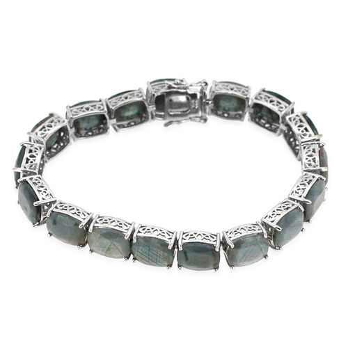 Natural Silver Sapphire (Cush) Bracelet in Rhodium Plated Sterling Silver (Size 8) 111.000 Ct.