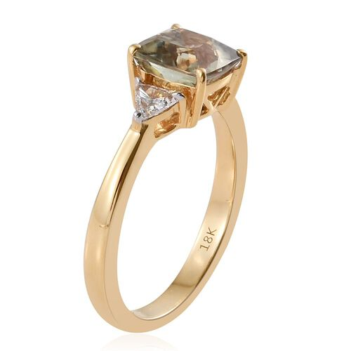 ILIANA 18K Yellow Gold Natural Turkizite (Cush 1.50 Ct), Diamond (SI/G-H) Ring 1.750 Ct.
