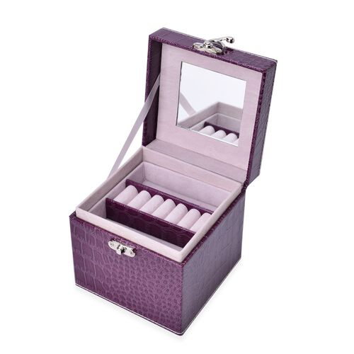 Purple Colour Croc Embossed 3 Layer Jewellery Box with Mirror inside (Size 12x12x12 Cm)