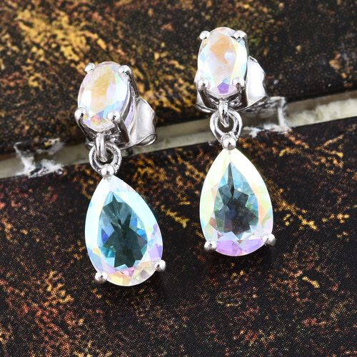 Mercury Mystic Topaz (Pear) Earrings (with Push Back) in Platinum Overlay Sterling Silver 4.000 Ct.