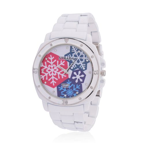 STRADA Japanese Movement White Austrian Crystal Studded White Snowflake Dial Water Resistant Watch in Silver Tone with Stainless Steel Back and White Strap