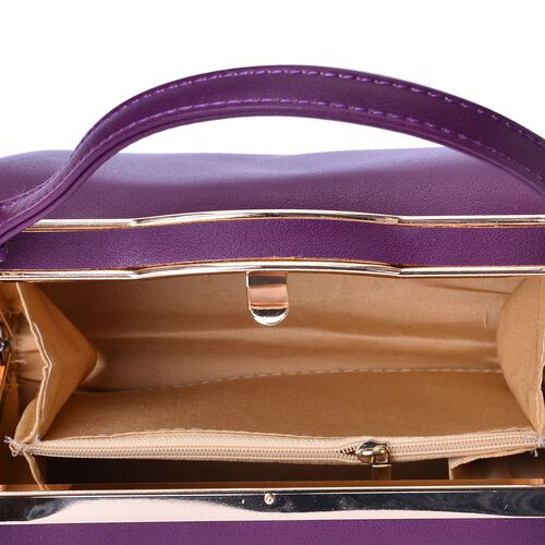 Purple Colour Clutch Bag With Adjustable and Removable Shoulder Strap (Size 18x12.5x10 Cm)