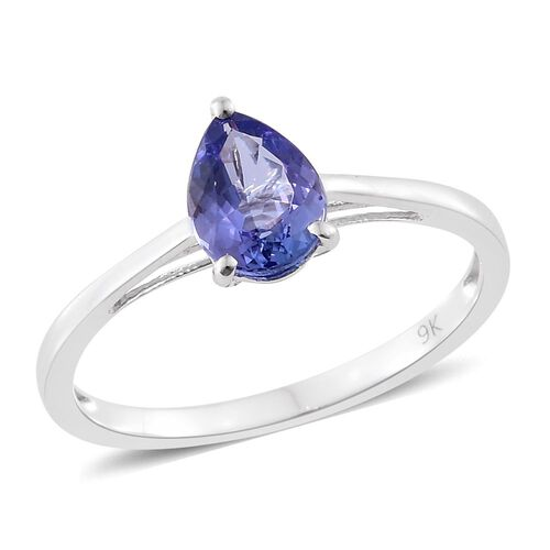 9K White Gold 1 Carat AA Tanzanite Pear Solitaire Ring