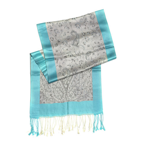 SILK MARK - 100% Superfine Grey and Black Colour Ornamental Paisley Pattern Jacquard Jamawar Blue Colour Scarf with Tassels (Size 170x35 Cm)