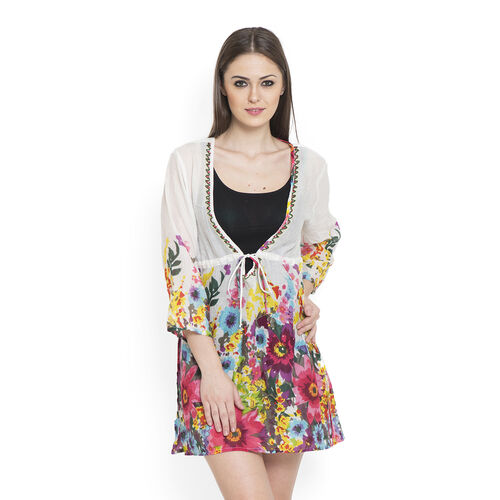 100% Cotton Fuchsia and Multi Colour Flowers Embroidered White Colour Beach Cover up and Poncho (Size 75x50 Cm)