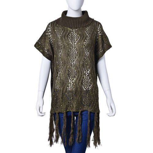 Winter Special - Green Colour Wavy Pattern High Neck Design Knitted Vest with Tassels (Size 70x60 Cm)