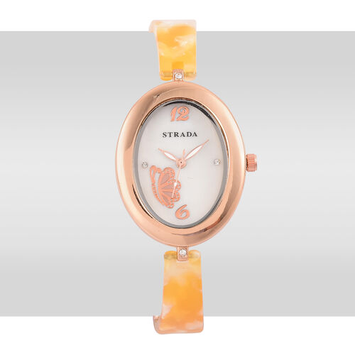STRADA Japanese Movement White Austrian Crystal Studded MOP Dial Watch in Rose Gold Tone with Stainless Steel Back and Yellow Colour Strap