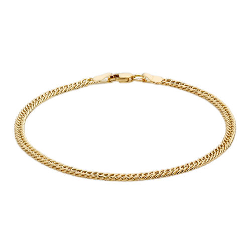 Close Out Deal 9K Y Gold Double Flat Curb Bracelet (Size 7.5), Gold wt 3.90 Gms.