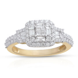 ILIANA 18K Y Gold IGI Certified Diamond (Sqr and Bgt) Ring 1.000 Ct.