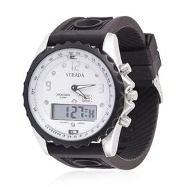 STRADA Analog - Digital Watch in Silver Tone with Black Colour Silicone Strap