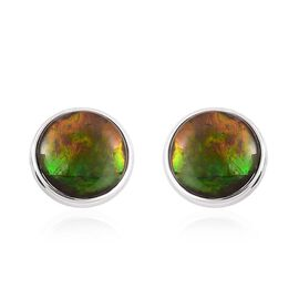 AA Canadian Ammolite (Rnd) Stud Earrings (with Push Back) in Platinum Overlay Sterling Silver 3.000 Ct.