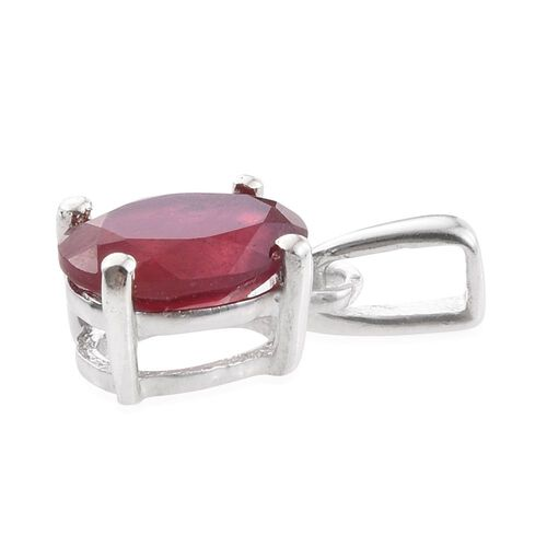 One Time Deal- African Ruby (Ovl) Solitaire Pendant in Platinum Overlay Sterling Silver 1.000 Ct.