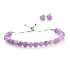 Super Auction-Rare Purple Jade Ball Beads Adjustable Bracelet (Size 6.5 to 8.5) and Stud Earrings (with Push Back) in Rhodium Plated Sterling Silver 37.280 Ct.