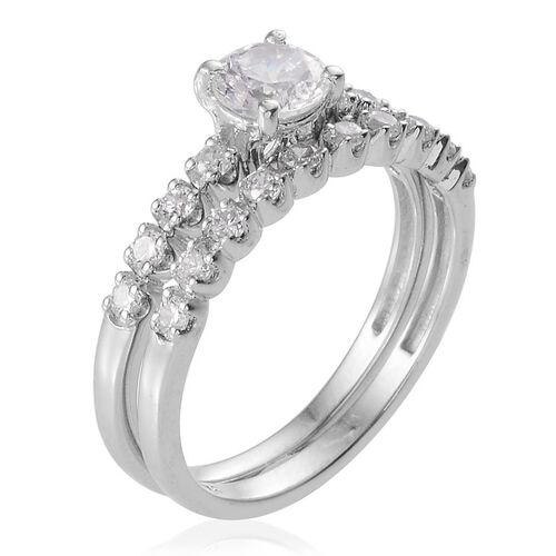 ELANZA AAA Simulated Diamond (Rnd) 2 Ring Set in Platinum Overlay Sterling Silver