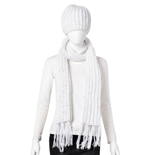 Sequin Embellished White Colour Knitted Scarf with Tassels (Size 165X18 Cm) and Hat (Size 30X20 Cm)