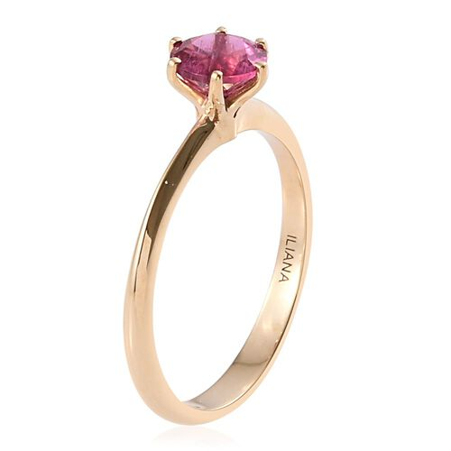ILIANA 18K Yellow Gold AAA Ouro Fino Rubelite (Rnd) Solitaire Ring 0.750 Ct.